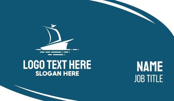 vessel - Blue Sailing Ship Business card horizontal design