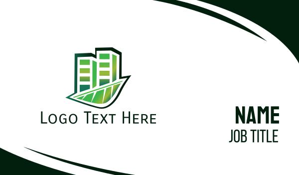 green city - Green Tall Buildings Business card horizontal design