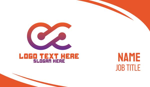 chain - Orange Modern OC Business card horizontal design