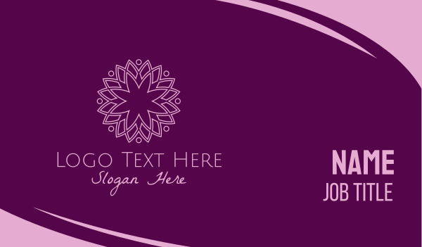 peace of mind - Elegant Purple Flower Business card horizontal design