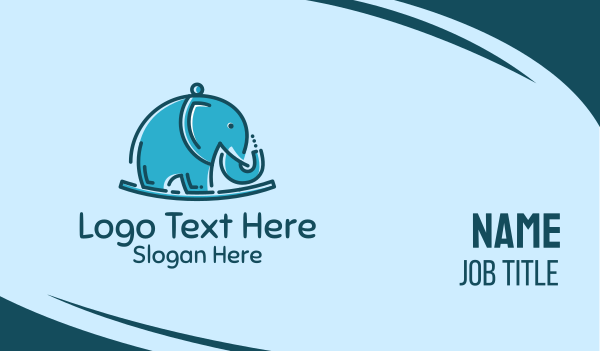 nursery - Blue Elephant Kids Toy Business card horizontal design