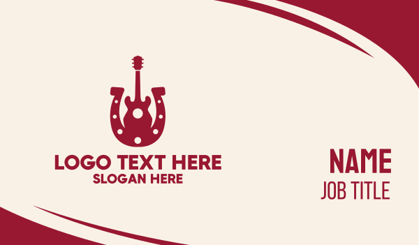country music - Red Country Guitar  Business card horizontal design