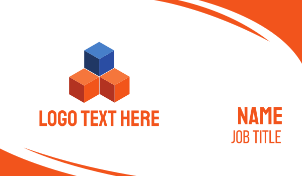 holding - Blue & Orange Cubes Business card horizontal design
