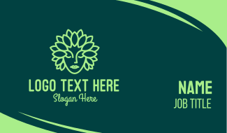 Leaf Goddess Mascot Business Card