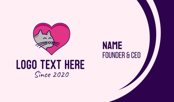pet lover - Heart Cat  Business card horizontal design