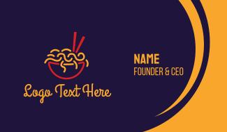 Asian Food Noodle Restaurant Business Card