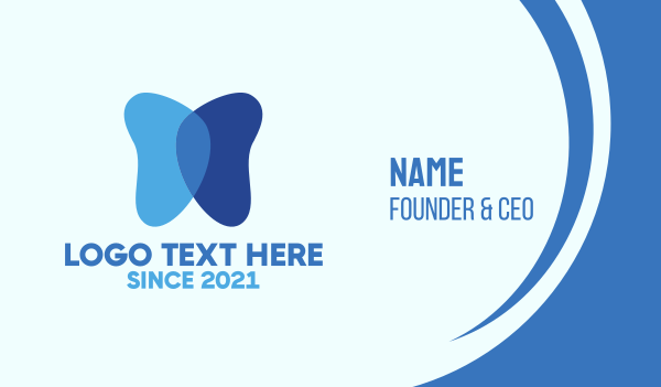 blue tooth - Blue Simple Butterfly Business card horizontal design