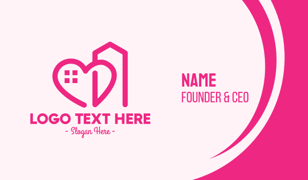 stay home - Pink Love Building  Business card horizontal design