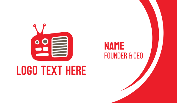 radio - Red Radio  Business card horizontal design