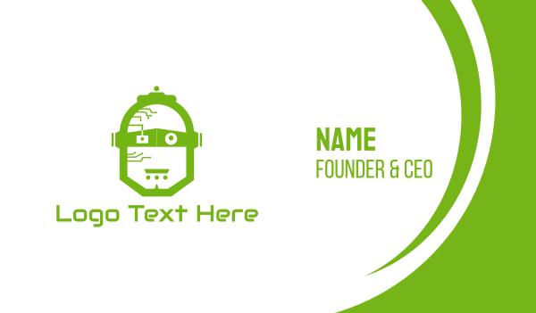 scifi - Green Robot Business card horizontal design