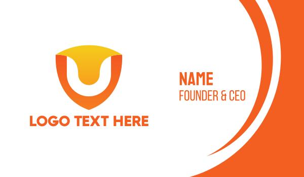 orange and white - Orange Shield Letter U Business card horizontal design