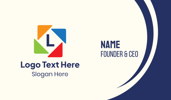 shapes - Learning Triangles Lettermark Business card horizontal design