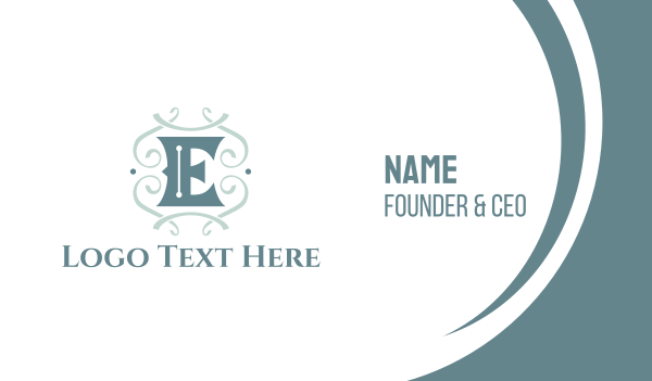 text - Classic Letter E Business card horizontal design