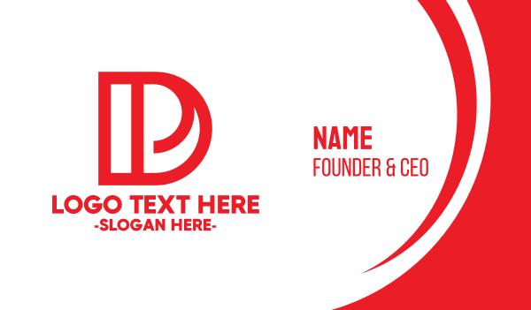 dp - Red DP Monogram Business card horizontal design
