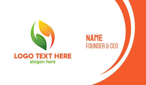 reuse - Green Orange Leaves Business card horizontal design