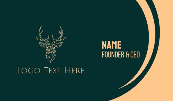 woodland animal - Elegant Deer Minimalist Monoline  Business card horizontal design