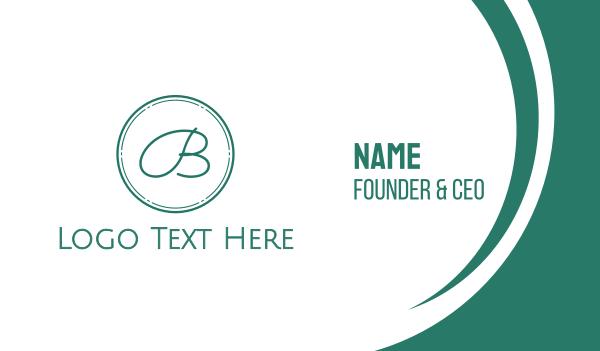 handwriting - Blue Cursive Letter B Business card horizontal design