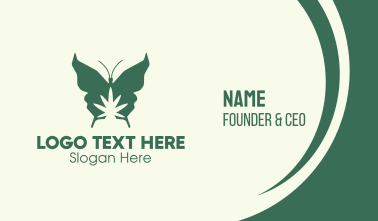 Green Weed Butterfly Business Card