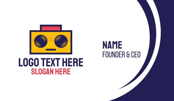 rectangle - DJ Robot Boombox Business card horizontal design