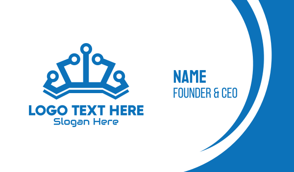 line - Blue Technological Crown Business card horizontal design