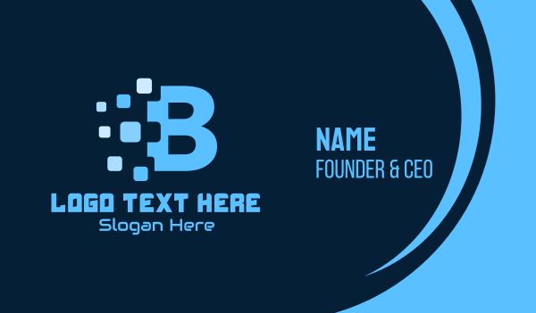 pixelized - Blue Pixel Letter B Business card horizontal design