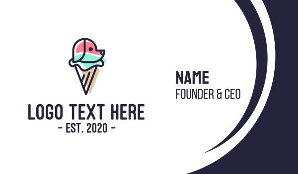 ice cream - Dog Ice Cream Treat Business card horizontal design