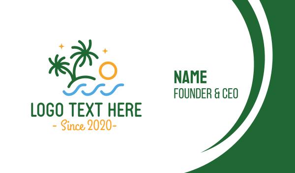 seashore - Tropical Palm Tree Beach Business card horizontal design