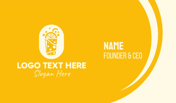 boba tea - Yellow Lemonade Drink Business card horizontal design