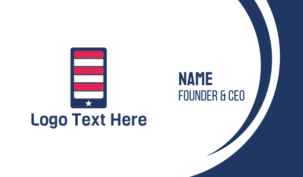 stars and stripes - American Mobile Phone Application Business card horizontal design