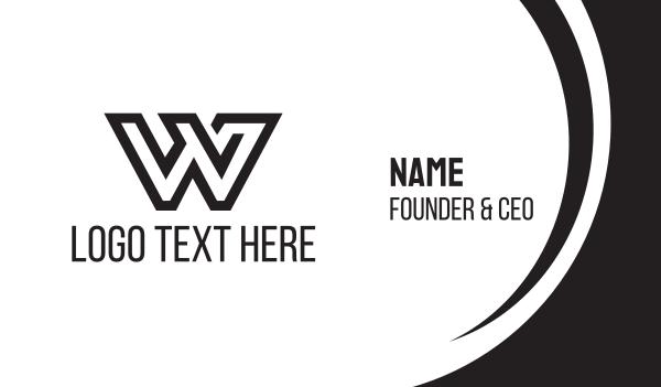 womens - Black Letter W Business card horizontal design