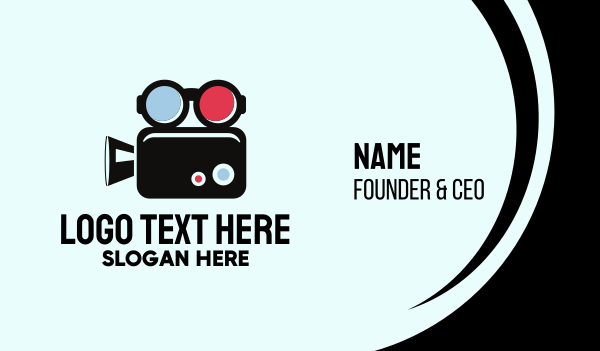 movie production - Geek Movie Camera Glasses Business card horizontal design