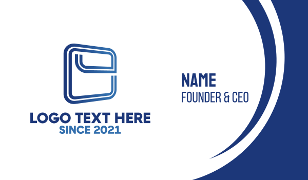 dark blue - Squared Letter E Business card horizontal design