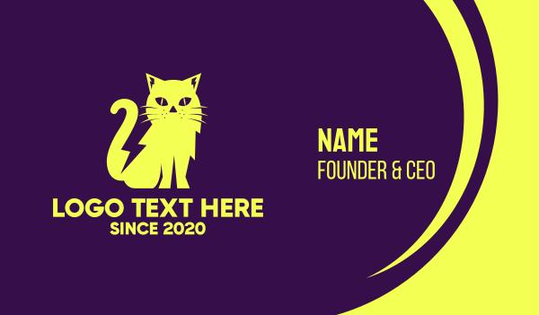 pussycat - Yellow Cat Business card horizontal design