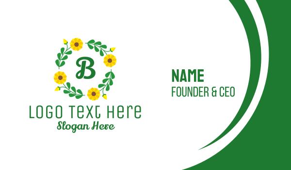 arrangement - Sunflower Ornamental Wreath Business card horizontal design