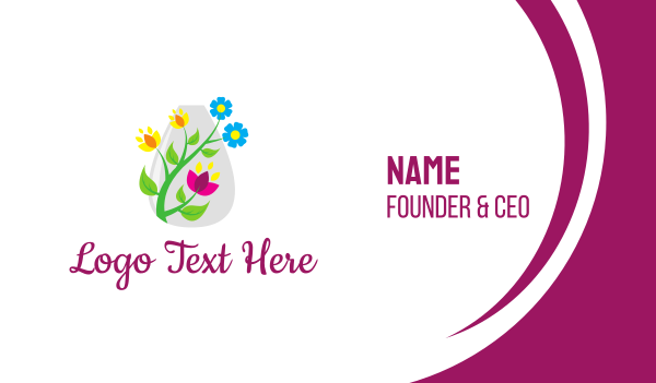 bloom - Decorative Flower Vase Business card horizontal design