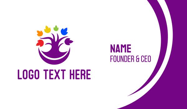 mardi gras - Colorful Purple Tree Business card horizontal design