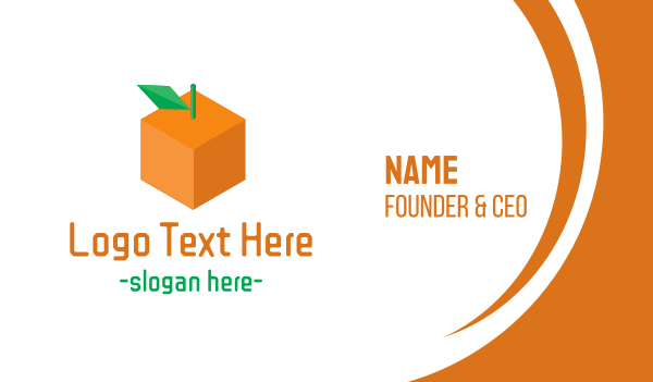 orange square - Orange Cube Business card horizontal design