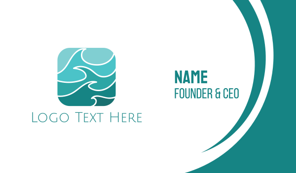 floss - Turquoise Waves Business card horizontal design