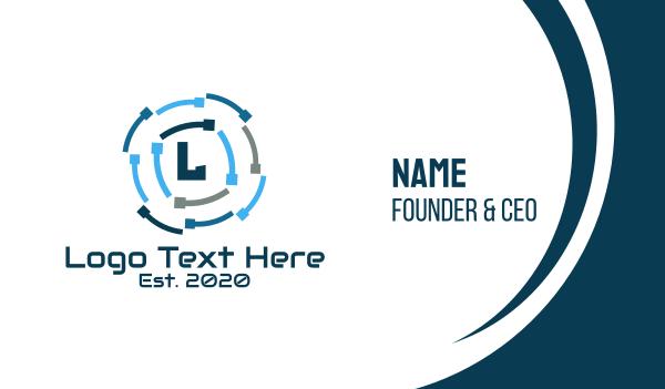 solutions - Colorful Digital Lettermark  Business card horizontal design