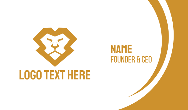 safari - Gold Geometric Lion Business card horizontal design