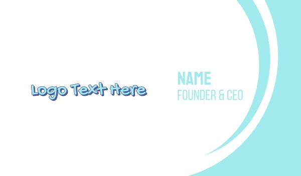 learning center - Blue Cute Handwriting Business card horizontal design
