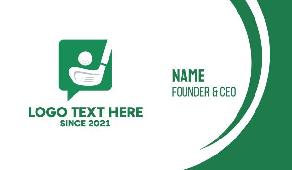 putter - Green Golf Chat Business card horizontal design