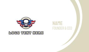 Patriotic Skull Wing Business Card