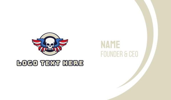 primitive - Patriotic Skull Wing Business card horizontal design