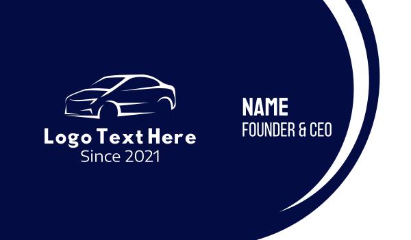 auto dealer - White Race Car Business card horizontal design