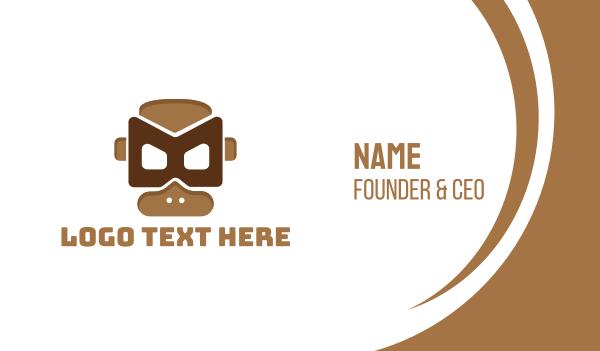 gas mask - Tribal Monkey Mask  Business card horizontal design