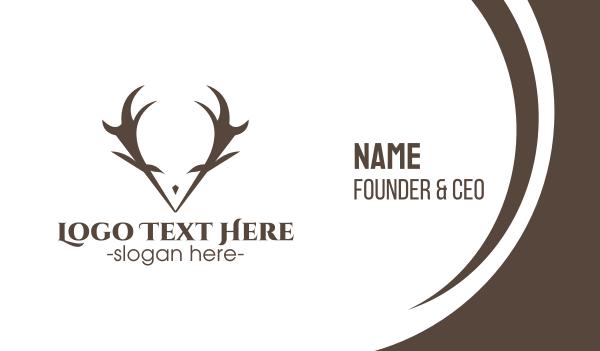 reindeer - Minimalist Antlers Business card horizontal design