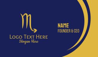 Gold Scorpio Horoscope Symbol Business Card