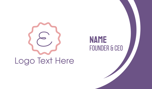 stamp - Cute Emblem Letter E Business card horizontal design