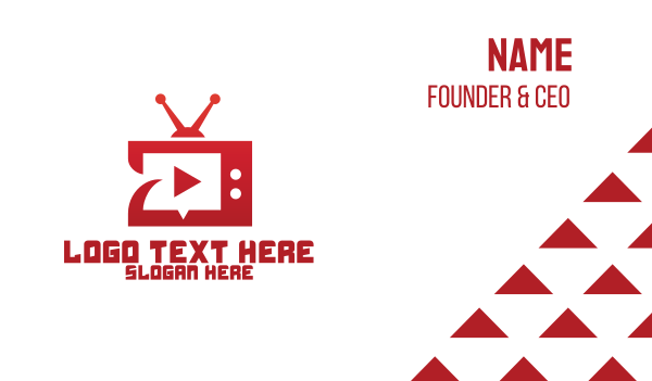 iptv - Red TV YouTube Channel Business card horizontal design